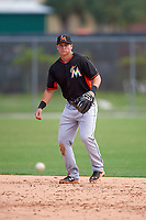 Miami Marlins Brian Schales (30) during a minor league Spring Training intrasquad game on March 31, 2016 at Roger Dean Sports Complex in Jupiter, Florida.  (Mike Janes/Four Seam Images)
