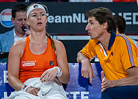 The Hague, The Netherlands, Februari 7, 2020,    Sportcampus, FedCup  Netherlands -  Balarus, Seccond match on friday:  Kiki Bertens (NED) on the bench with capytain Paul Haarhuis<br /> Photo: Tennisimages/Henk Koster