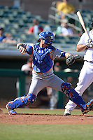 Scottsdale Scorpions catcher Cam Maron (3), of the New York Mets organization, during an Arizona Fall League game against the Mesa Solar Sox on October 15, 2013 at HoHoKam Park in Mesa, Arizona.  Mesa defeated Scottsdale 7-4.  (Mike Janes/Four Seam Images)