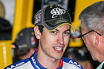 Sprint Cup Series driver Joey Logano (22) relaxes before the Nascar's NXS O'Reilly Auto Parts Challenge at Texas Motor Speedway in Fort Worth,Texas.