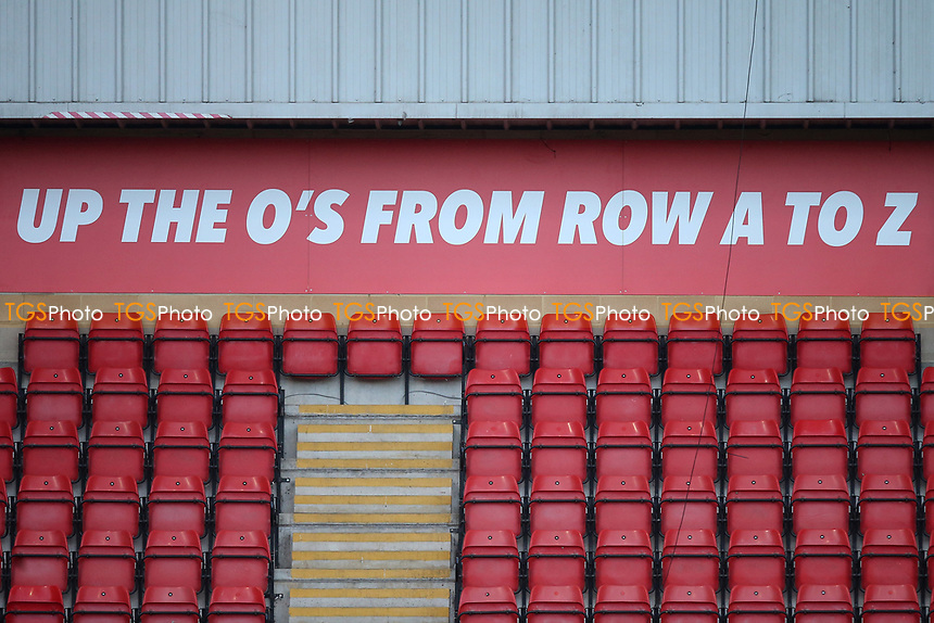 Up The O's From Row A To Z signage during Leyton Orient vs Salford City, Sky Bet EFL League 2 Football at The Breyer Group Stadium on 2nd January 2021