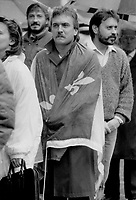 1987 FILE PHOTO - ARCHIVES -<br /> <br /> <br /> His last respects: A mourner draped in the Quebec fleur de lis flag was among the thousands of Montreal-area people who lined up yesterday to say farewell to former premier Rene Levesque.<br /> <br /> 1987<br /> <br /> PHOTO : Boris Spremo - Toronto Star Archives - AQP