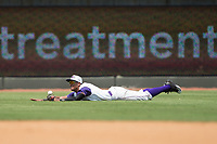 Winston-Salem Dash center fielder Joel Booker (28) makes a diving attempt to catch a line drive during the game against the Salem Red Sox at BB&T Ballpark on July 23, 2017 in Winston-Salem, North Carolina.  The Dash defeated the Red Sox 11-10 in 11 innings.  (Brian Westerholt/Four Seam Images)