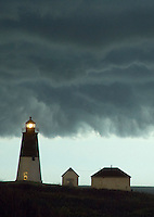 Point Judith Light shine brightly as storm clouds darken the sky