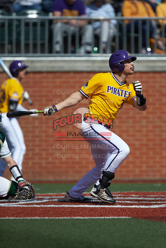 Bryson Worrell (35) of the East Carolina Pirates follows through on his swing against the Charlotte 49ers at Hayes Stadium on March 8, 2020 in Charlotte, North Carolina. The Pirates defeated the 49ers 4-1. (Brian Westerholt/Four Seam Images)