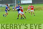 Templenoe Gavin Crowley tackled by Daingean Uí Chúis Conchubhar Ó Géibheannaigh during the CSFC match at Pairc an Aghasaigh, Dingle, on Saturday evening.