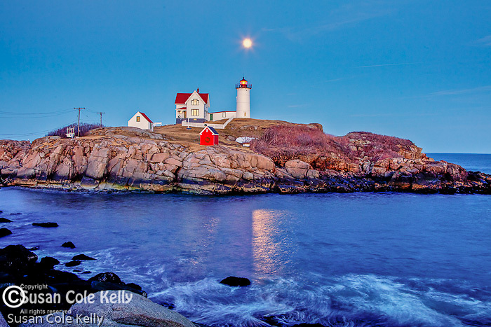 Moonrise at Nubble Light on Cape Neddick, York, ME, USA