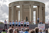 Israël Cycling Academy at the pre race Team Presentation with the World War I memorial, King Albert I monument, in the background. <br /> <br /> <br /> 1st Great War Remembrance Race 2018 (UCI Europe Tour Cat. 1.1) <br /> Nieuwpoort > Ieper (BE) 192.7 km