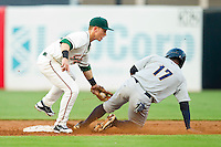 Blake Barber (8) of the Greensboro Grasshoppers puts the tag on Angelo Gumbs (17) of the Charleston RiverDogs as he is caught trying to steal second base at NewBridge Bank Park on July 17, 2013 in Greensboro, North Carolina.  The Grasshoppers defeated the RiverDogs 4-3.  (Brian Westerholt/Four Seam Images)