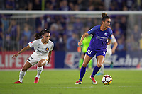 Orlando, FL - Saturday March 24, 2018: Orlando Pride defender Carson Pickett (16) turns away from Utah Royals midfielder Taylor Lytle (12) during a regular season National Women's Soccer League (NWSL) match between the Orlando Pride and the Utah Royals FC at Orlando City Stadium. The game ended in a 1-1 draw.