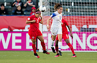 CARSON, CA - FEBRUARY 07: Desiree Scott #11 of Canada heads a ball during a game between Canada and Costa Rica at Dignity Health Sports Complex on February 07, 2020 in Carson, California.