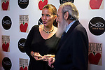 """Spanish chef Samantha Vallejo and Jesuit father Javier Repulles SJ during the presentation of the cookbook """"Recetas con Corazon"""" at Barcelo theater in Madrid, Spain, October 26, 2015. <br /> (ALTERPHOTOS/BorjaB.Hojas)"""