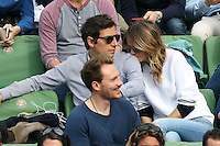 Laurence Arne and boyfriend seen watching tennis during Roland Garros tennis open 2016 on may 26 2016.