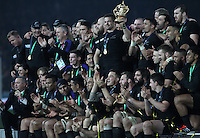 Richie McCaw of New Zealand lifts the Webb Ellis trophy after winning the Rugby World Cup Final between New Zealand and Australia - 31/10/2015 - Twickenham Stadium, London<br /> Mandatory Credit: Rob Munro/Stewart Communications  during the Rugby World Cup Final between New Zealand and Australia - 31/10/2015 - Twickenham Stadium, London<br /> Mandatory Credit: Rob Munro/Stewart Communications