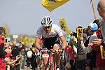 Grégory Rast (SUI) Trek Factory Racing leads the way over Sector 10 Mons-en-Pevele during the 113th edition of the Paris-Roubaix 2015 cycle race held over the cobbled roads of Northern France. 12th April 2015.<br /> Photo: Eoin Clarke www.newsfile.ie