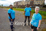 Sanctuary runners Pauline Dennigan and friends from Direct Provision who are running the virtual Cork City marathon in June. Front right: Pauline Dennigan. Back l to r: Dudu Lushaba (Swahililand) and Jesuit Fildix Moendke (Nigeria).