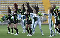 BOGOTÁ -COLOMBIA, 12-08-2018: Bastoneras de Equidad animan a su equipo durante el encuentro entre La Equidad y Deportivo Pasto por la fecha 4 de la Liga Águila II 2018 jugado en el estadio Metropolitano de Techo de la ciudad de Bogotá. / Cheerleaders cheer for their team during match between La Equidad and Deportivo Pasto for the date 4 of the Aguila League II 2018 played at Metropolitano de Techo stadium in Bogotá city. Photo: VizzorImage/ Gabriel Aponte / Staff