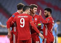 FUSSBALL CHAMPIONS LEAGUE SAISON 2020/2021 Achtelfinale Rueckspiel 17.03.2021 FC Bayern Muenchen - Lazio Rom Jubel FC Bayern Muenchen Leon Goretzka, Torschuetz zum 1-0 Robert Lewandowski, Thomas Mueller und Serge Gnabry v.re. *** FOOTBALL CHAMPIONS LEAGUE SEASON 2020 2021 Round of 16 Second leg 17 03 2021 FC Bayern Muenchen Lazio Roma Cheers FC Bayern Muenchen Leon Goretzka, goal scorer for 1 0 Robert Lewandowski, Thomas Mueller and Serge Gnabry v r. <br /> Monaco 17/03/2021 <br /> Football Uefa Champions League 2020/2021 Round of 16 Leg 2<br /> Bayern Monaco - SS Lazio<br /> Photo Imago/Insidefoto <br /> ITALY ONLY