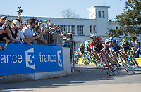Chasing group with Edward Theuns (BEL/Trek-Segafredo) and Tom Boonen (BEL/Quick Step Floors) turning into the Roubaix Velodrome<br /> <br /> 115th Paris-Roubaix 2017 (1.UWT)<br /> One day race: Compiègne > Roubaix (257km)