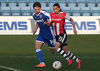 Randell Williams of Exeter City in possession as Gillingham's Robbie McKenzie looks on during Gillingham vs Exeter City, Emirates FA Cup Football at the MEMS Priestfield Stadium on 28th November 2020