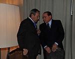 ANTONIO CATRICALA' CON SILVIO BERLUSCONI<br /> PREMIO GUIDO CARLI - TERZA  EDIZIONE<br /> PALAZZO DI MONTECITORIO - SALA DELLA LUPA<br /> CON RICEVIMENTO  HOTEL MAJESTIC   ROMA 2012