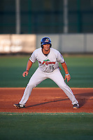 Fort Myers Miracle third baseman T.J. White (16) leads off first during a game against the Bradenton Marauders on April 9, 2016 at McKechnie Field in Bradenton, Florida.  Fort Myers defeated Bradenton 5-1.  (Mike Janes/Four Seam Images)