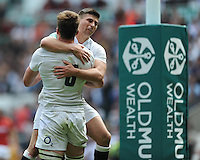 Ben Youngs of England congratulates Jack Clifford of England after he scores a dramatic try during the Old Mutual Wealth Cup match between England and Wales at Twickenham Stadium on Sunday 29th May 2016 (Photo: Rob Munro/Stewart Communications)