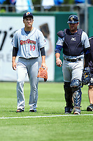 New York Yankees pitcher Masahiro Tanaka (19) walks toward the dugout prior to his rehabilitation start with the Scranton/Wilkes-Barre RailRiders versus the Pawtucket Red Sox at McCoy Stadium on May 27, 2015 in Pawtucket, Rhode Island.  (Ken Babbitt/Four Seam Images)