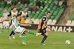 Sevilla, España, 15 de octubre de 2014: Kadir (I) chuta a aporteria ante David Lopez (D) durante el partido entre Real Betis y Lugo correspondiente a la jornada 5 de la Copa del Rey 2014-2015 celebrado en el estadio Benito Villamarain de Sevilla.
