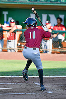 Manny Olloque (11) of the Idaho Falls Chukars at bat against the Ogden Raptors in Pioneer League action at Lindquist Field on June 28, 2016 in Ogden, Utah. The Raptors defeated the Chukars 12-11. (Stephen Smith/Four Seam Images)