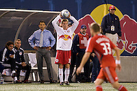 New York Red Bulls defender Chris Leitch (33) on a throw in. Toronto FC defeated the New York Red Bulls 3-1 during a Major League Soccer match at Giants Stadium in East Rutherford, NJ, on October 04, 2008. Photo by Howard C. Smith/isiphotos.com