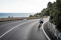 Charles Planet (FRA/Novo Nordisk) was in the breakaway all day and trying to hold them off for a bit longer...<br /> <br /> 112th Milano-Sanremo 2021 (1.UWT)<br /> 1 day race from Milan to Sanremo (299km)<br /> <br /> ©kramon
