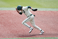 Austin Knight (14) of the Charlotte 49ers takes off for second base during the game against the Old Dominion Monarchs at Hayes Stadium on April 25, 2021 in Charlotte, North Carolina. (Brian Westerholt/Four Seam Images)