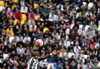 Calcio, Serie A: Juventus vs Sampdoria. Torino, Juventus Stadium, 14 maggio 2016. <br /> Juventus' Paul Pogba heads the ball during the Italian Serie A football match between Juventus and Sampdoria at Turin's Juventus Stadium, 14 May 2016.<br /> UPDATE IMAGES PRESS/Isabella Bonotto