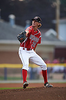 Batavia Muckdogs pitcher Scott Squier (31) delivers a pitch during a game against the West Virginia Black Bears on August 31, 2015 at Dwyer Stadium in Batavia, New York.  Batavia defeated West Virginia 5-4.  (Mike Janes/Four Seam Images)