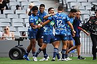 14th March 2021; Eden Park, Auckland, New Zealand;  Blues celebrate the try of Emoni Narawa, Blues v Highlanders, Super Rugby Aotearoa. Eden Park, Auckland. New Zealand.