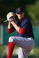 Lowell Spinners pitcher Tanner Houck (50) works in the bullpen before a game against the Batavia Muckdogs on July 11, 2017 at Dwyer Stadium in Batavia, New York.  Lowell defeated Batavia 5-2.  (Mike Janes/Four Seam Images)