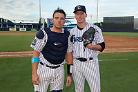Tampa Tarpons catcher Donny Sands and pitcher Trevor Stephan pose for a photo after a Florida State League game against the Jupiter Hammerheads on July 26, 2019 at George M. Steinbrenner Field in Tampa, Florida.  Stephan struck out 9 batters over 7 innings for a no-hitter in the first game of a doubleheader.  Tampa defeated Jupiter 2-0.  (Mike Janes/Four Seam Images)