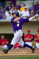 LSU Tigers outfielder Mason Katz #8 swings during the NCAA Super Regional baseball game against Stony Brook on June 9, 2012 at Alex Box Stadium in Baton Rouge, Louisiana. Stony Brook defeated LSU 3-1. (Andrew Woolley/Four Seam Images)