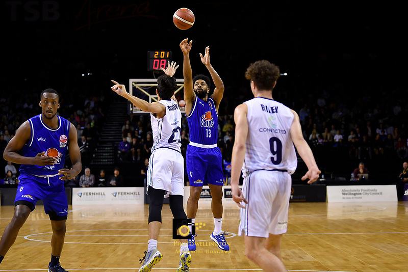 Dion Prewster of the Wellington Saints shoots the ball during the NBL match between the Wellington Saints and the Auckland Huskies at TSB Bank Arena, Wellington, New Zealand on Friday 28 May 2021.<br /> Photo by Masanori Udagawa. <br /> www.photowellington.photoshelter.com