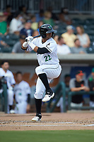 Jose Layer (22) of the Augusta GreenJackets at bat against the Kannapolis Intimidators at SRG Park on July 6, 2019 in North Augusta, South Carolina. The Intimidators defeated the GreenJackets 9-5. (Brian Westerholt/Four Seam Images)
