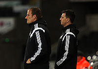 Pictured: Swansea coach Chris Llewellyn (R) Monday 30 March 2015<br />
