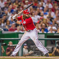 22 August 2015: Washington Nationals outfielder Jayson Werth in action against the Milwaukee Brewers at Nationals Park in Washington, DC. The Nationals defeated the Brewers 6-1 in the second game of their 3-game weekend series. Mandatory Credit: Ed Wolfstein Photo *** RAW (NEF) Image File Available ***
