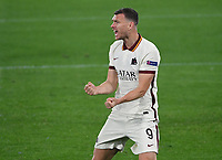 Football: Europa League - quarter finals 2nd leg AS Roma vs Ajax, Olympic Stadium. Rome, Italy, March 15, 2021.<br /> Roma's Edin Dzeko celebrates after scoring during the Europa League football match between Roma at Rome's Olympic stadium, Rome, on April 15, 2021.  <br /> UPDATE IMAGES PRESS/Isabella Bonotto