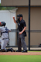 Umpire Chad Westlake calls a strike during a Gulf Coast League game between the GCL Tigers West and GCL Phillies West on July 27, 2019 at the Carpenter Complex in Clearwater, Florida.  (Mike Janes/Four Seam Images)