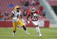 Arkansas wide receiver T.J. Hammonds (41) carries the ball, Saturday, November 21, 2020 during the fourth quarter of a football game at Donald W. Reynolds Razorback Stadium in Fayetteville. Check out nwaonline.com/201122Daily/ for today's photo gallery. <br /> (NWA Democrat-Gazette/Charlie Kaijo)