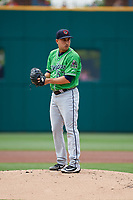 Gwinnett Stripers starting pitcher Miguel Socolovich (53) gets ready to deliver a pitch during a game against the Columbus Clippers on May 17, 2018 at Huntington Park in Columbus, Ohio.  Gwinnett defeated Columbus 6-0.  (Mike Janes/Four Seam Images)