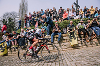 The first rider, Severine Eraud of Doltcini-Van Eyck Sport, up the Muur, 16th Ronde Van Vlaanderen<br /> <br /> Elite Womans Race (1.WWT)<br /> <br /> One day race from Oudenaarde to Oudenaarde<br /> ©Jojo Harper for Kramon