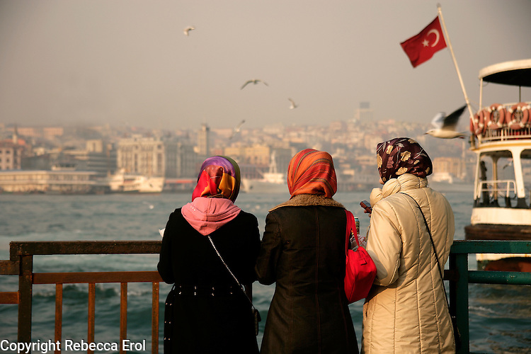 Teenage girls in headscarfs at the Golden Horn, Istanbul, Turkey