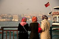 Teenage girls in headscarfs at the Golden Horn, Istanbul, Turkey